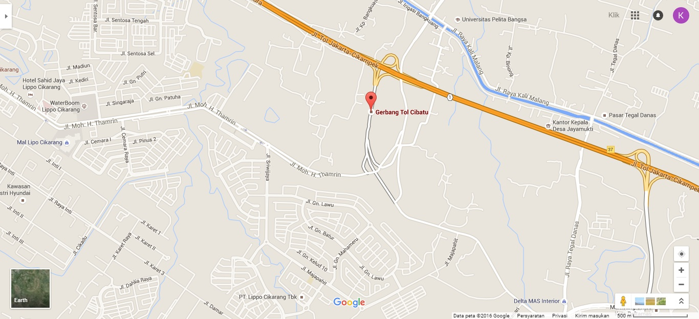 Tol Cibatu berada di sebelah utara kawasan Lippo Cikarang.