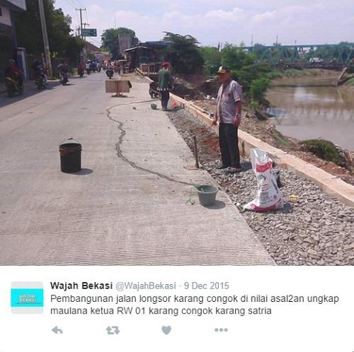 Warga juga menduga perbaikan jalan tersebut dikerjakan asal-asalan oleh pemerintah.
